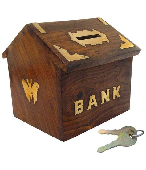 bank box limra brown wooden piggy bank buy limra brown wooden