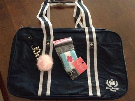 Japan School Bag Navy Grey Line strawberry