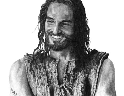 Black And White Drawings Of Jesus by Jesus Smiling By Bobby Shaw