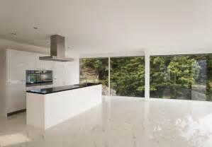 kitchen design with calacatta gold marble floor tiles
