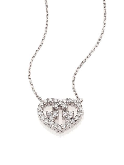 gucci britt 18k white gold pendant necklace