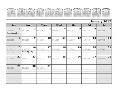 printable monthly calendar with julian dates 2017 monthly julian calendar 12 months top free