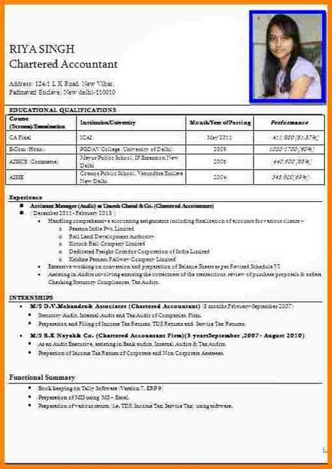 Resume Exles India Format 9 Resume Format For Teachers Inventory Count Sheet