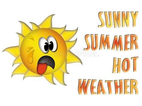very hot weather funny images sunny summer hot weather with funny sun stock vector
