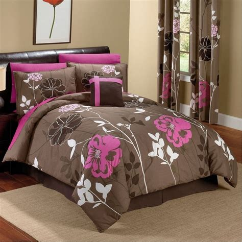 Chocolate And Pink Floral Comforter Set For The Home Pink And Brown Bedding