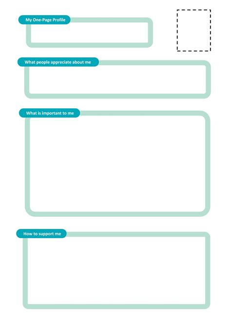 One Page Profiles One Page Description Template