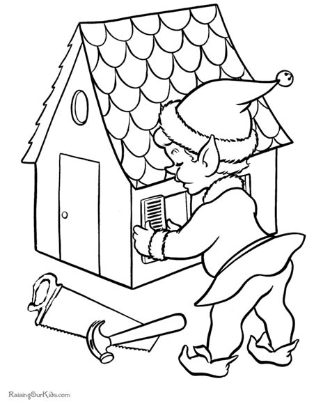 elf printable christmas coloring pages