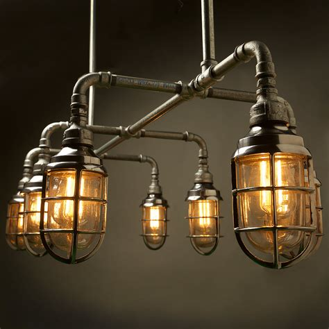 Home Lighting Plumbing Pipe Light Fixture Vintage Cage