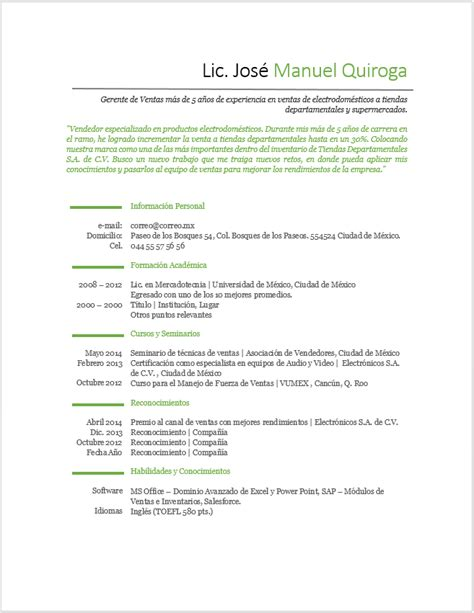 Modelo De Curriculum Para Trabajo En Ventas Curriculum Vitae De Vendedor Gt Ejemplos Y Formatos Mil Formatos