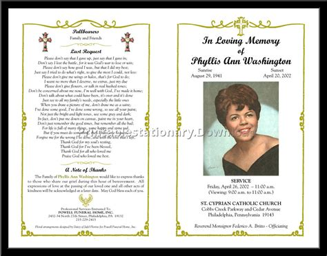 memorial program templates free free funeral program template tristarhomecareinc