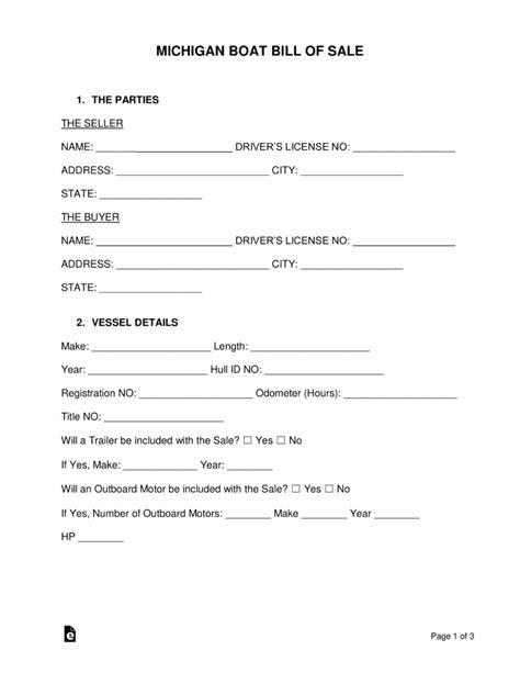 michigan boat bill of sale pdf free michigan boat bill of sale form word pdf eforms