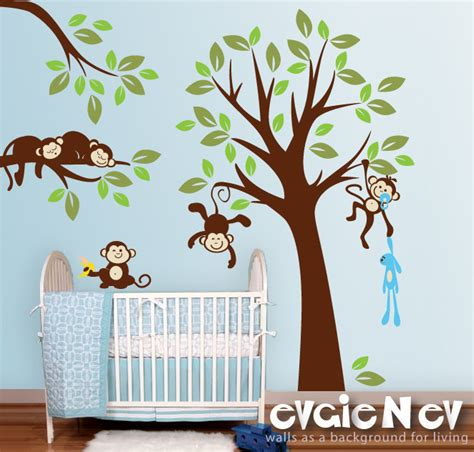 Monkey Wall Decals For Nursery Monkeys Everywhere Wall Decals Jungle Tree With Monekys Wall