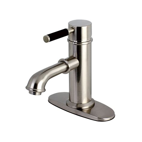 kingston brass victorian single hole  handle bathroom faucet  satin nickel hkspx