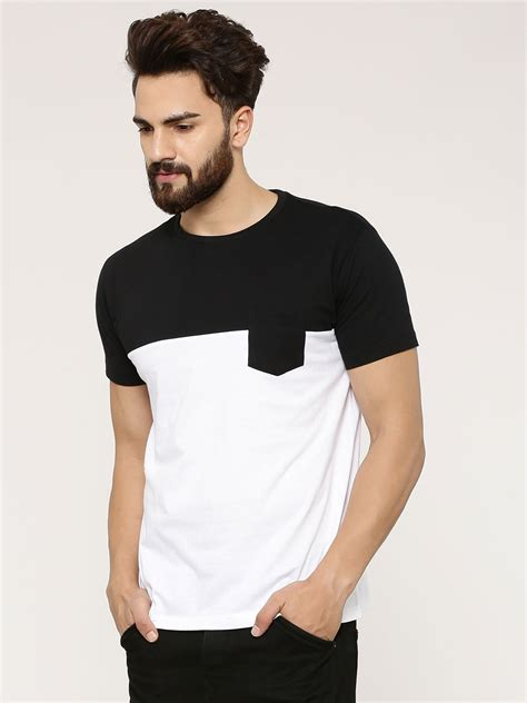 buy colour block t shirt with patch pocket