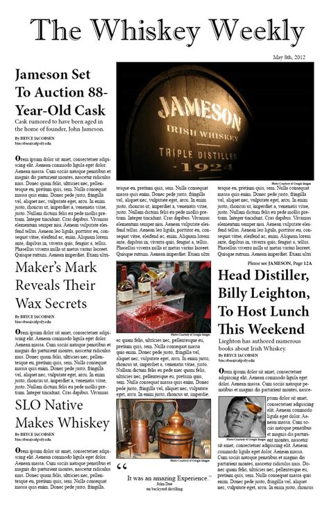 newspaper layout project newspaper layout