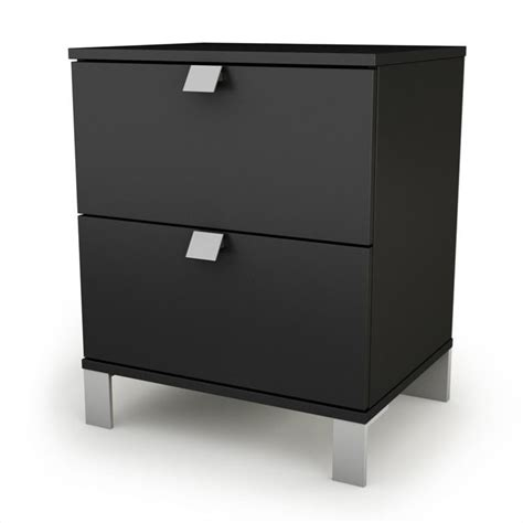L For Nightstand South Shore Affinato Nightstand In Solid Black Finish 3270060