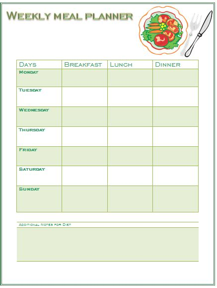 Weekly Diet Template diet plan template printable calendar template 2016
