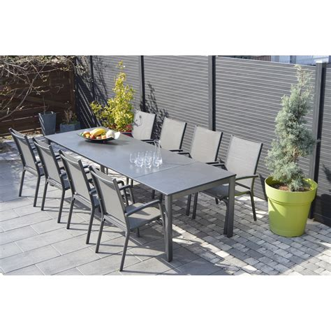 table ocean 6 fauteuils aruba coloris taupe stunning salon de jardin table fauteuil contemporary