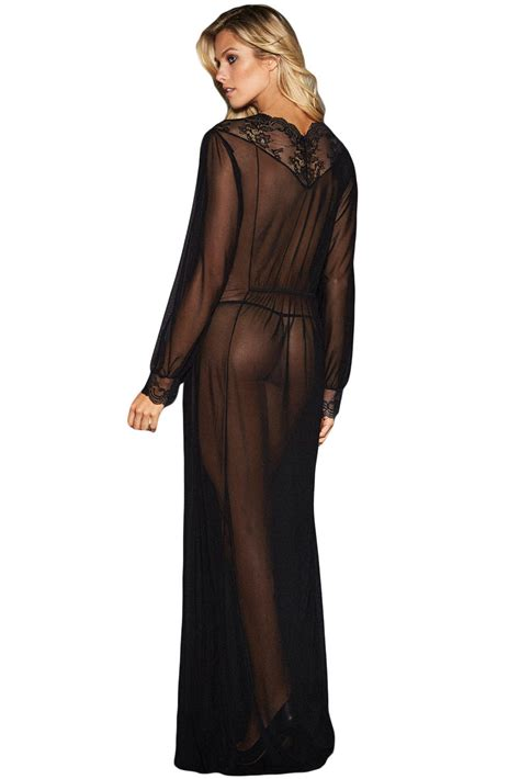 Home Decoration Product by Us 5 4 Sheer Long Sleeve Lace Robe With Thong Wholesale