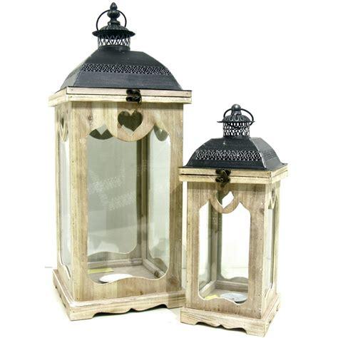 candele giganti 2 lanterne giganti porta candele in legno metallo nero e vetro