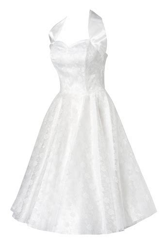 white swing dress wedding 50s retro halter luxury white satin lace swing dress