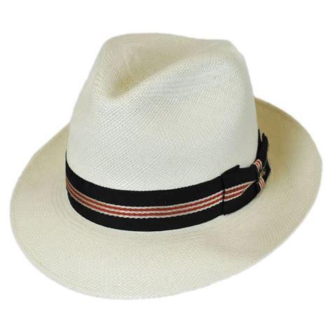 Navy Braided Band Straw Fedora bahama striped band grade 8 panama straw fedora hat
