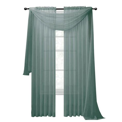 Aqua Sheer Curtains Window Elements Sheer Voile Aqua Curtain Scarf 56 In W X 216 In L Ymc003060 The