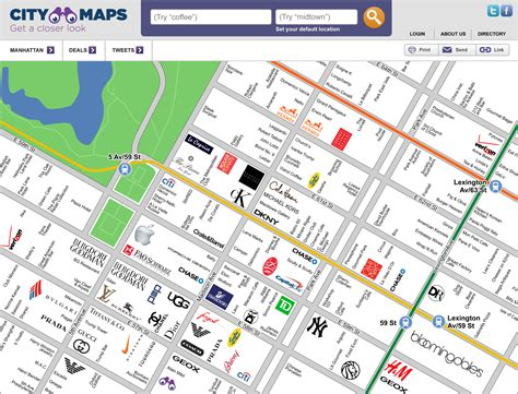 city map aggregating information from the landscape business by business fight