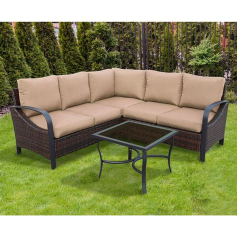 Mill Valley 4 Patio Sectional Set With Parchment Cushions