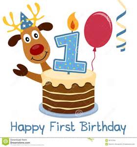 first birthday cute reindeer stock images image 30727234