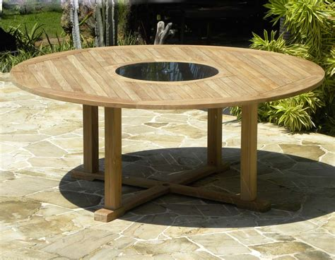 Round teak and granite garden table bermuda