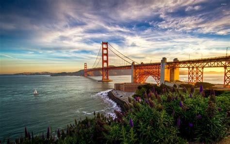 sunset park lights sunset light on golden gate bridge wallpaper world