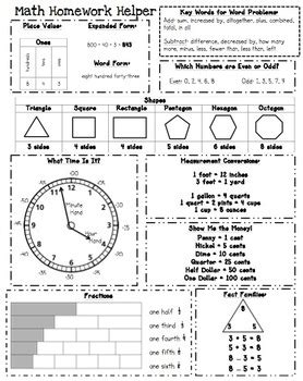 2nd Grade Homework Pages by Homework Helper Math Reference Sheet For 2nd Grade By