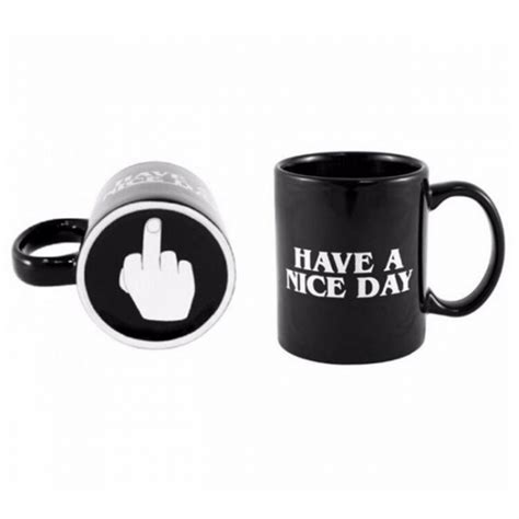 HAVE A NICE DAY & Middle Finger Pattern Ceramic Mug Coffee Cup Black   Alex NLD