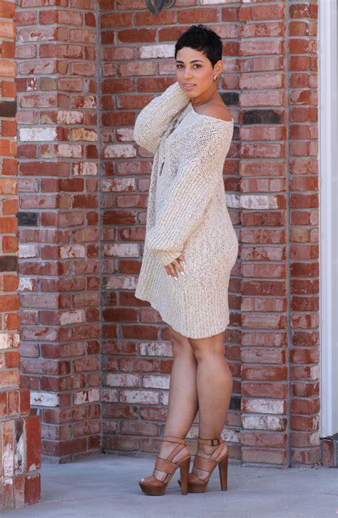 Sweater Wify sweater dress chunky heels mimi g style
