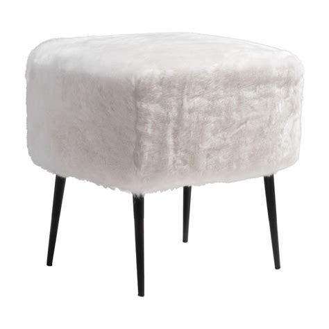 White Foot Stool by Zuo Fuzz White Accent Foot Stool 100192 The Home Depot