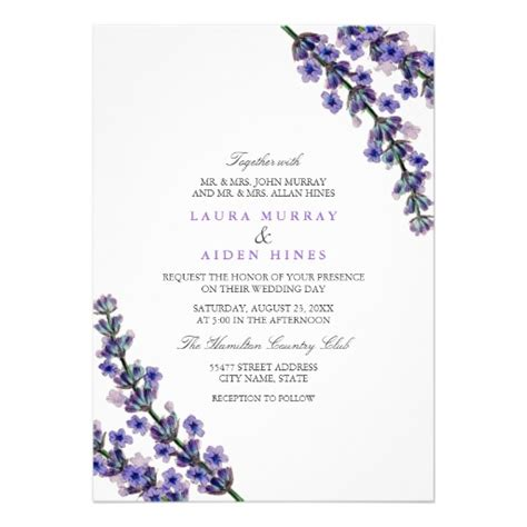 printable wedding invitation lavender elegant lavender wedding invitation zazzle