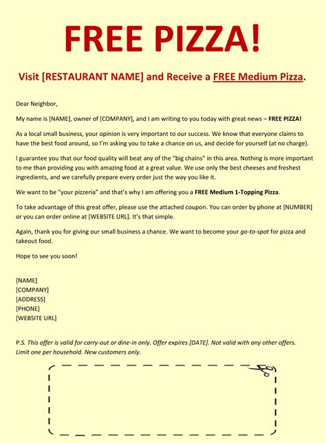 free sales email templates pizza sales letter exle free pizza sales letter