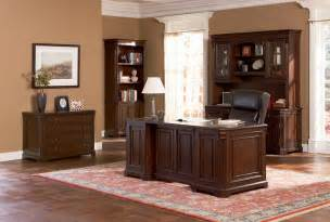 Home Furniture Sets Brown Wood Desk Set Classic Paneled Home Office