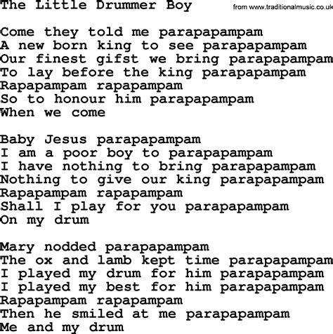 printable lyrics for the little drummer boy joan baez song the little drummer boy lyrics