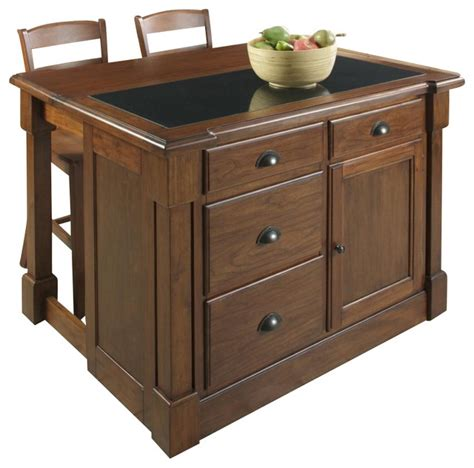 aspen kitchen island home styles aspen kitchen island and two stools set