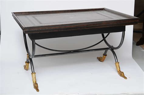 Coffee Table Leather Top Neoclassical Leather Top Coffee Table At 1stdibs