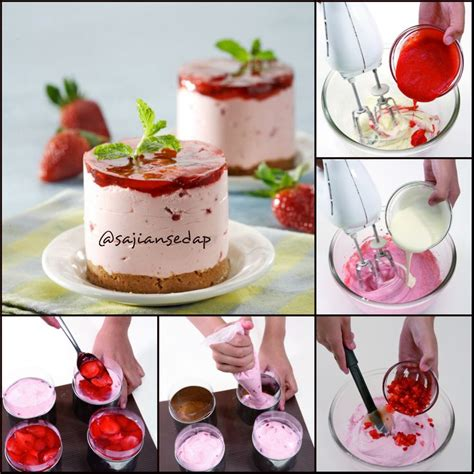membuat unbaked cheese cake unbaked strawberry cheese cake http www sajiansedap com