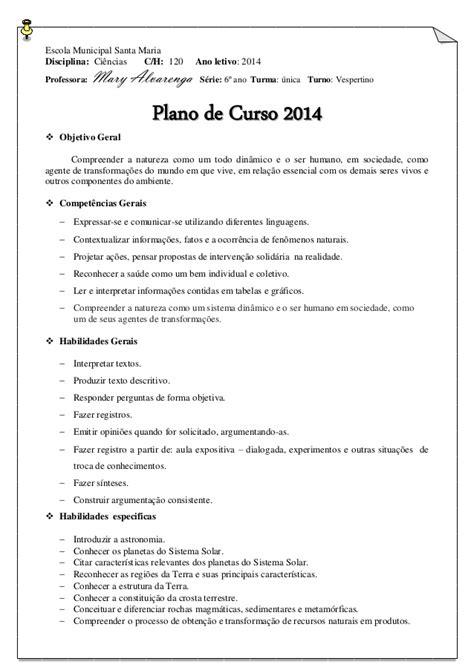 Plano de Curso Ciências 6º ano