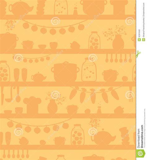 Kitchen Pantry Shelves Seamless Pattern Background Stock