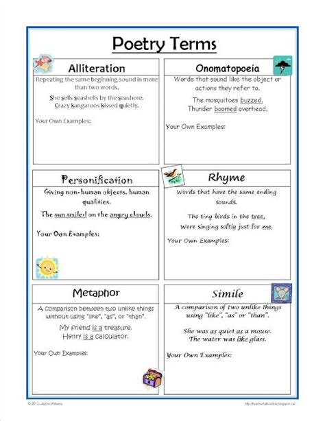 Types Of Poetry Worksheet by Poetry Terms Worksheet Great For Practice And Review