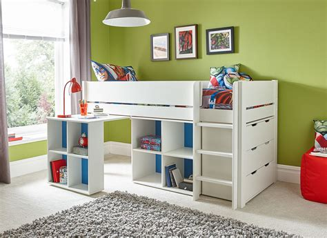 Kid Bed With Desk Tinsley Midsleeper With Storage Desk And Chest Of Drawers White Dreams