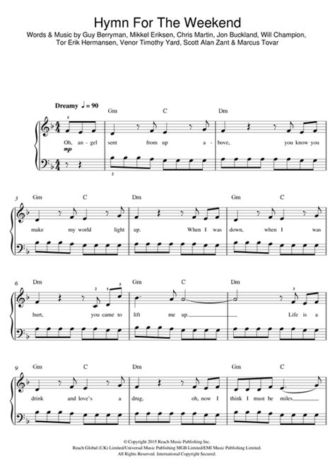 coldplay hymn for the weekend chord hymn for the weekend sheet music by coldplay beginner