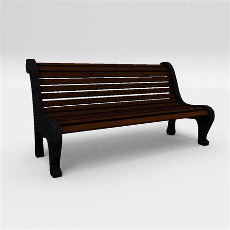 model bench 3d model strreet bench vr ar low poly max obj 3ds fbx