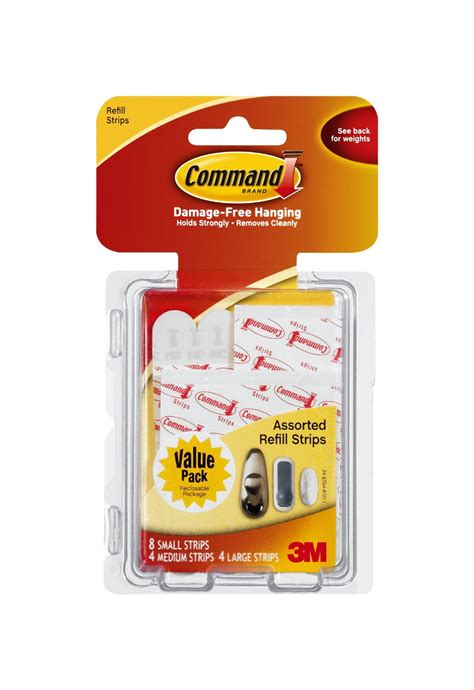 3m command assorted strips walmart com 3m command 17200cl assorted mounting refill strips 8